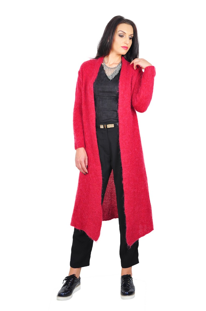 Cardigan lung rosu - cardigane dama - cardigane online 16e87a019a75