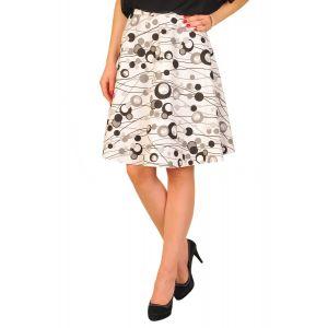 Fuste dama RVL Spring dots alb negru