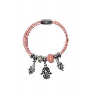Bratara roz cu elemente decorative