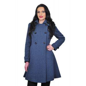 palton albastru de dama D2239A