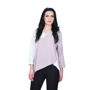 bluza eleganta de dama D2244A alb bej