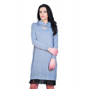 rochie gri cu guler larg D2403