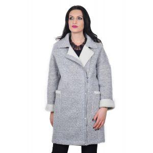 palton maxi gri de dama D2412