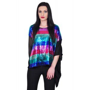 Bluza asimetrica de dama din paiete multicolore