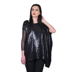 Bluza asimetrica de dama din paiete negre D2440