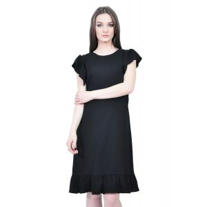 rochie neagra cu volane D2509