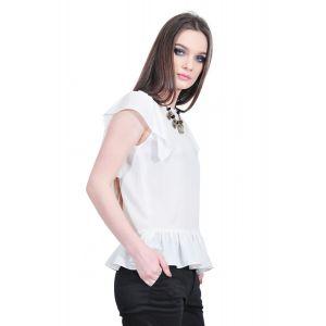 bluza alba de dama cu volane D2510 RVL