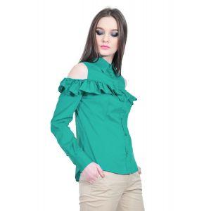 camasa verde de dama cu volan D2517