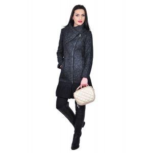 Palton de dama negru din lana D321A