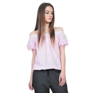 bluza roz dungi de dama D2351A