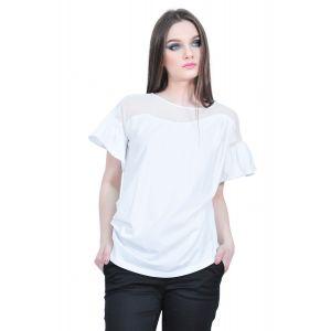 Bluza alba de dama cu maneca scurta, RVL D2533
