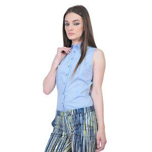 camasi bleu de dama fara maneci D2551