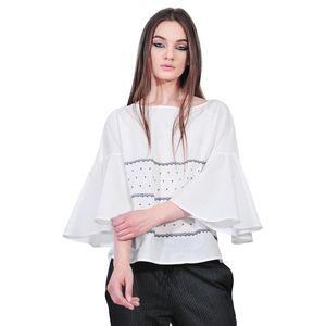 bluza alba cu dungi de dama D2553