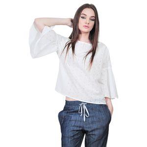 bluza alba perforata de dama D2553