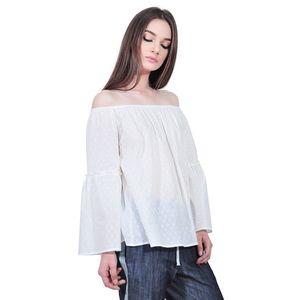 Bluza larga alba de dama tip ie D2554