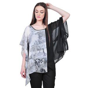 Bluza asimetrica elegante de dama, alb-negru D2555