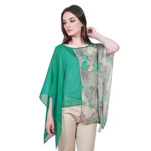 Bluza asimetrica elegante de dama, verde-bej D2555