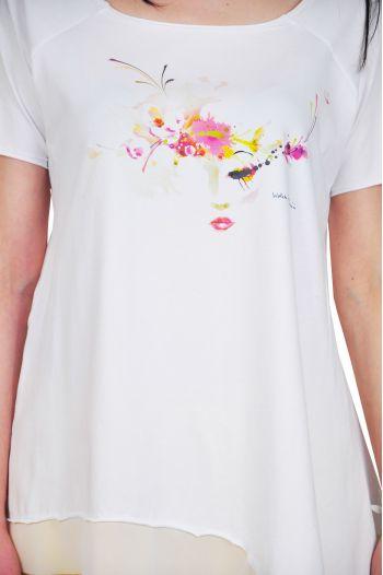 bluze dama asimetrice D2321 alb roz