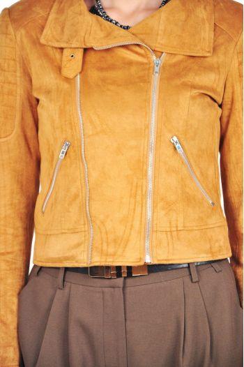 jacheta piele intoarsa caramiziu
