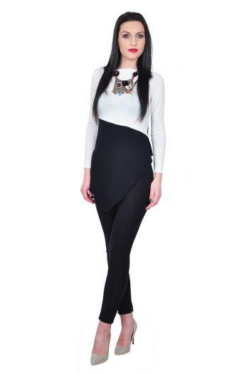Bluza asimetrica de dama, alb-negru D2439
