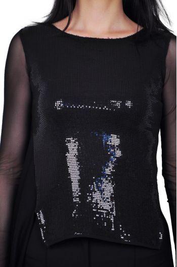 Bluza asimetrica de dama cu paiete negre D2441
