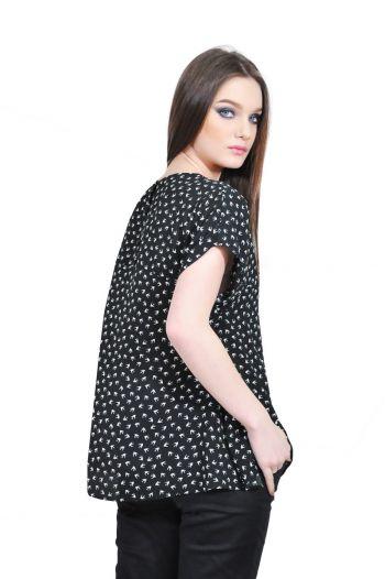 bluza dama negru pasari d2504