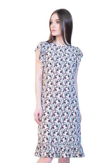 rochie imprimata cu lalele D2509 RVL