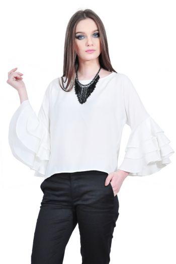 bluza alba de dama cu volane la maneci D2511 RVL