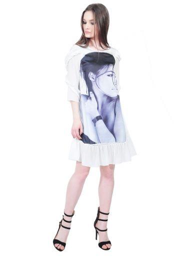 rochie alba cu portret D2515 RVL