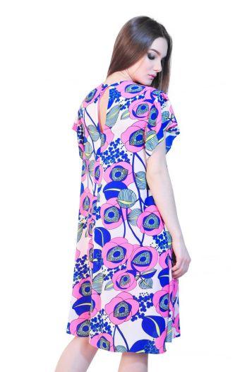 Rochie cu imprimeu roz D2536