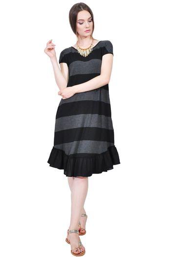 Rochie de vara in dungi negru-gri D2557