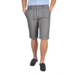 pantaloni barbati 3/4 maro dungi