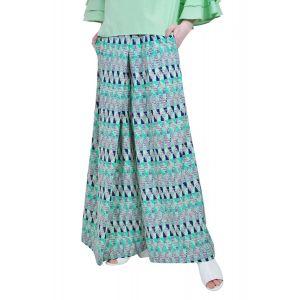 pantalon larg de dama, verde D2508