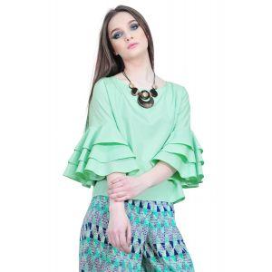 bluza verde de dama cu volane la maneci D2511 RVL