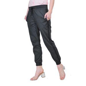 pantalon de dama negru cu dungi D2146B