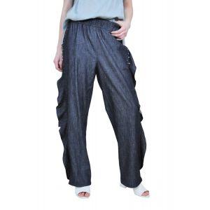 Pantalon larg din denim, cu volan D2532A