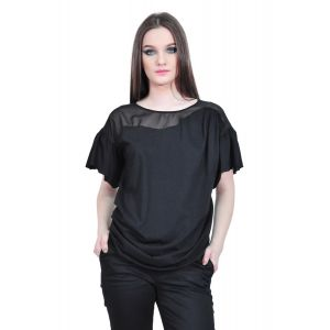 Bluza neagra de dama cu maneca scurta, RVL D2533