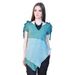 Bluza verde de dama asimetrica D2538
