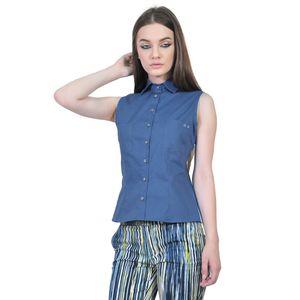 camasa albastra de dama fara maneci D2551