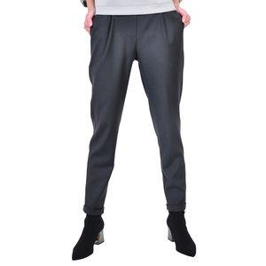 pantalon cu elastic in talie, gri inchis D2613