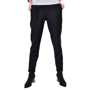 pantalon cu elastin in talie, negru D2613