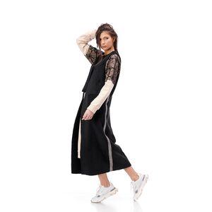 vesta neagra lunga cu banda argintie pe laterala