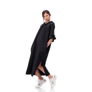 rochie neagra cu gluga si volan la maneca
