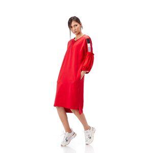 rochie dama rosie din tricot cu maneci din voal