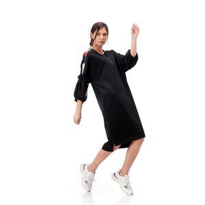 rochie dama neagra din tricot cu maneci incretite din voal
