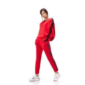 Pantalon de dama RVL rosu, din tricot