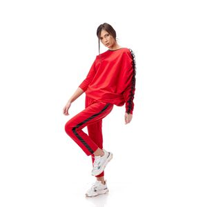 bluza de dama rosie asimetrica