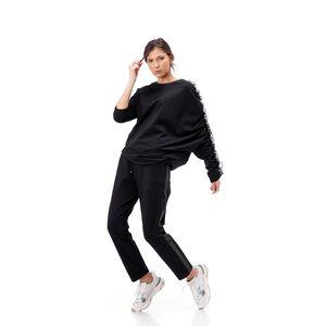 Bluza dama RVL neagra , asimetrica din tricot cu volan pe maneca