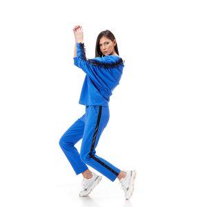 Pantalon dama RVL, albastru, din tricot cu banda laterala din piele ecologica