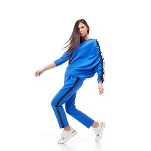 Bluza dama RVL albastra  , asimetrica din tricot cu volan pe maneca